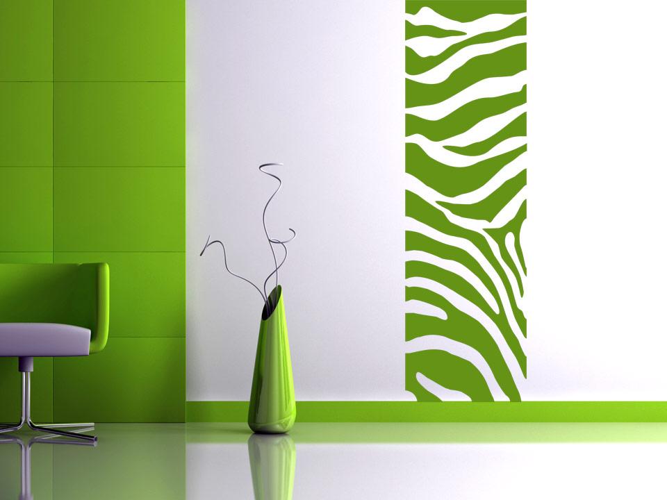 Wandbanner mit zebramuster raumhoch for Wandgestaltung farbe beispiele