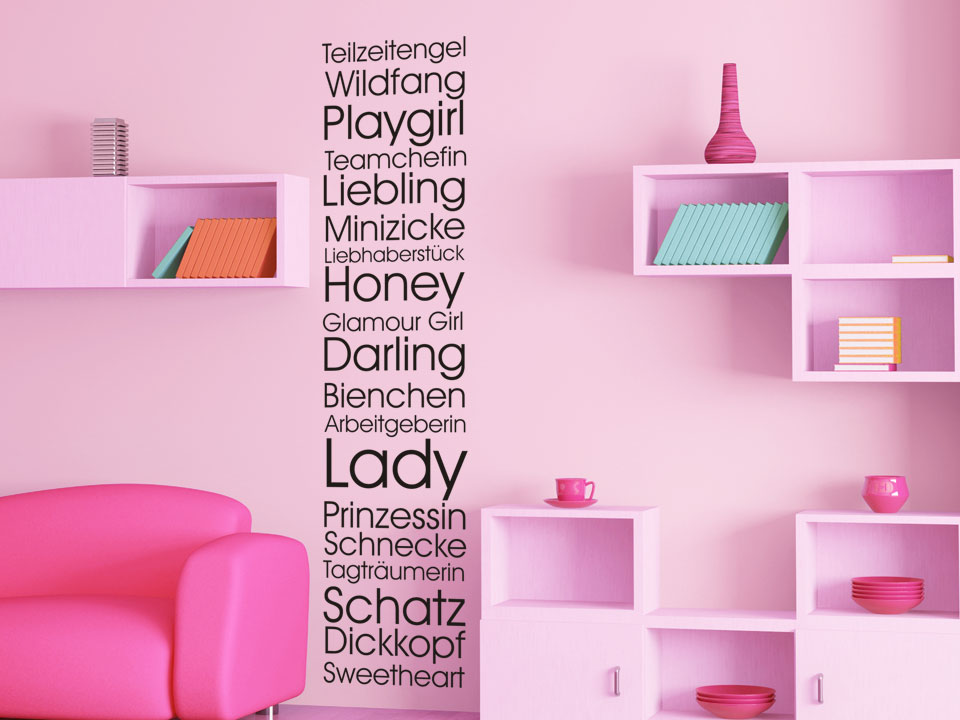 wandtattoo m dchen kosenamen wandtattoo spruchband kosenamen prinzessin wandtattoos kinder. Black Bedroom Furniture Sets. Home Design Ideas