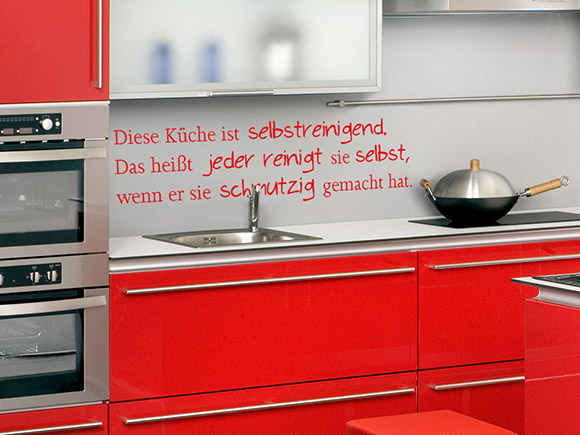 wandtattoo selbstreinigende k che wandtattoo k che reinigen putzen wandtattoos k che spr che. Black Bedroom Furniture Sets. Home Design Ideas