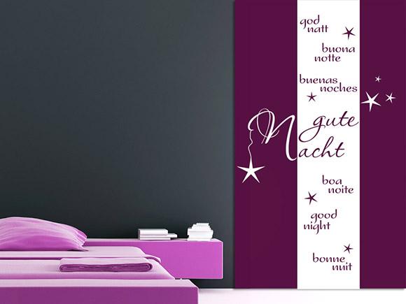wandbanner gute nacht wandbanner gute nacht verschiedene sprachen banner schlafzimmer. Black Bedroom Furniture Sets. Home Design Ideas