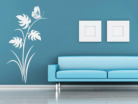 wandtattoo elegante ranke mit schmetterling wandtattoo. Black Bedroom Furniture Sets. Home Design Ideas