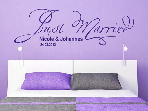 wandtattoo just married mit name und datum zur hochzeit. Black Bedroom Furniture Sets. Home Design Ideas