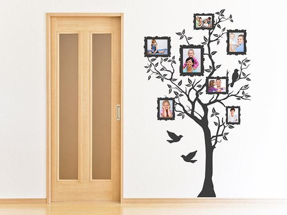wandtattoo baum mit bilderrahmen f r fotos. Black Bedroom Furniture Sets. Home Design Ideas