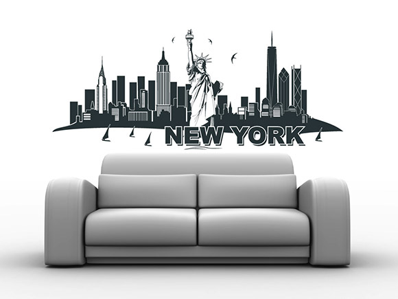 wandtattoo new york skyline wandtattoo freiheitsstatue. Black Bedroom Furniture Sets. Home Design Ideas
