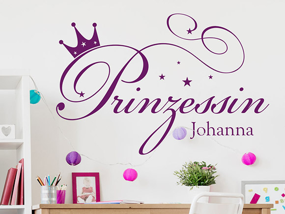 wandtattoo prinzessin mit name und krone wandtattoo schriftzug prinzessin individualisierbar mit. Black Bedroom Furniture Sets. Home Design Ideas