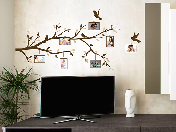 wandtattoo zweig mit fotos wandtattoo fotorahmen wandtattoos mit eigenen fotos bilderrahmen. Black Bedroom Furniture Sets. Home Design Ideas
