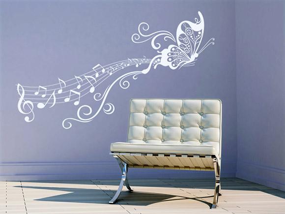 wandtattoo ornament mit notenschl ssel wandtattoo schmetterling ornament wandtattoos. Black Bedroom Furniture Sets. Home Design Ideas