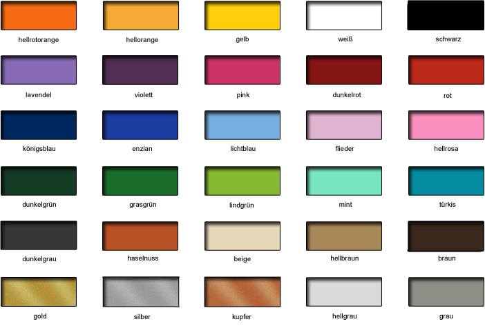 wandtattoo farben bei farbtabelle. Black Bedroom Furniture Sets. Home Design Ideas