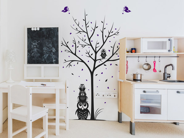 Wandtattoo Baum mit Eulen im Kinderzimmer