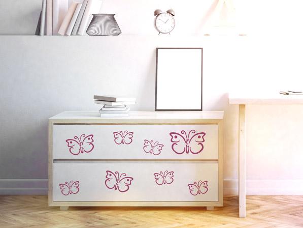 Wandtattoo Schmetterlinge auf Schubladen