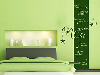 wandbanner gute nacht f rs schlafzimmer. Black Bedroom Furniture Sets. Home Design Ideas