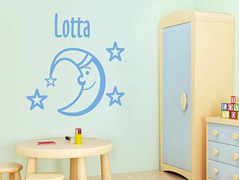 Wandtattoo Mond und Sterne mit Wunschname, Babyzimmer | Wandtattoo.com