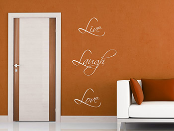 Wandsticker Live Laugh Love vertikal ausgerichtet