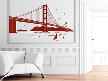 Wandtattoo Golden Gate Bridge in rot im Eingangsbereich