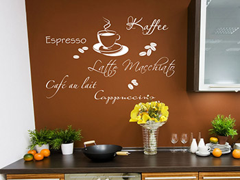 Best Good Wandtattoo Kaffee Style In Wei In Der Kche With Wandtattoo Kche  Kaffee With Sthle