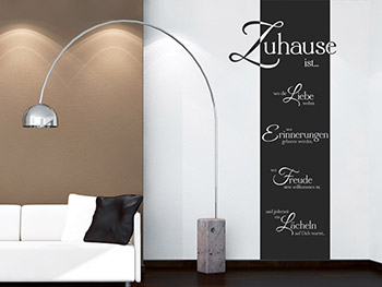 wandbanner zuhause ist spruch banner. Black Bedroom Furniture Sets. Home Design Ideas