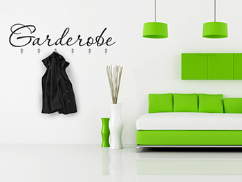 wandtattoo garderobe schriftzug mit garderobenhaken. Black Bedroom Furniture Sets. Home Design Ideas
