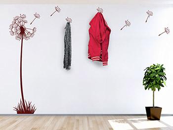 Wandtattoo garderobe stilvolle pusteblume inkl haken for Garderobe rot