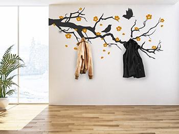 wandtattoo garderobe bl tenzweig mit kischbl ten. Black Bedroom Furniture Sets. Home Design Ideas