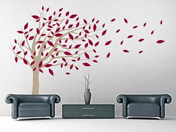 wandtattoo baum mit wehenden bl ttern. Black Bedroom Furniture Sets. Home Design Ideas