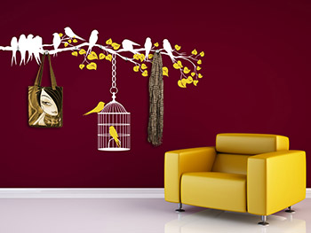 wandtattoo garderobe bunter ast mit vogelk fig. Black Bedroom Furniture Sets. Home Design Ideas
