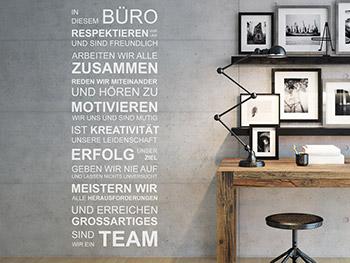 Wandtattoo In Diesem Büro Sind Wir Ein Team Respektieren Wir Uns