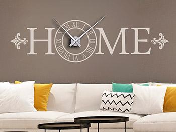 Wandtattoo Uhr Mit Schrift Home Auf Brauner Wand