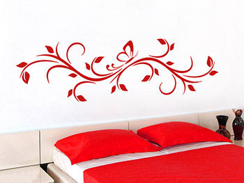 wandtattoo geschwungenes ornament mit schmetterling. Black Bedroom Furniture Sets. Home Design Ideas