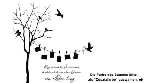 Wandtattoo Baum mit Fotos und Vögeln | Wandtattoo.com
