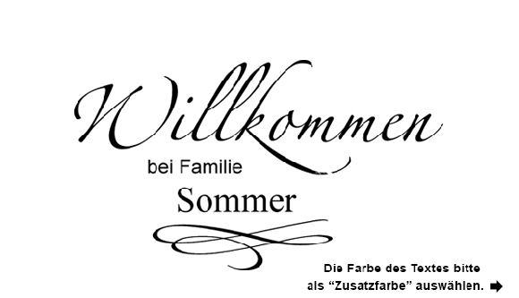 wandtattoo willkommen schriftzug mit familienname. Black Bedroom Furniture Sets. Home Design Ideas