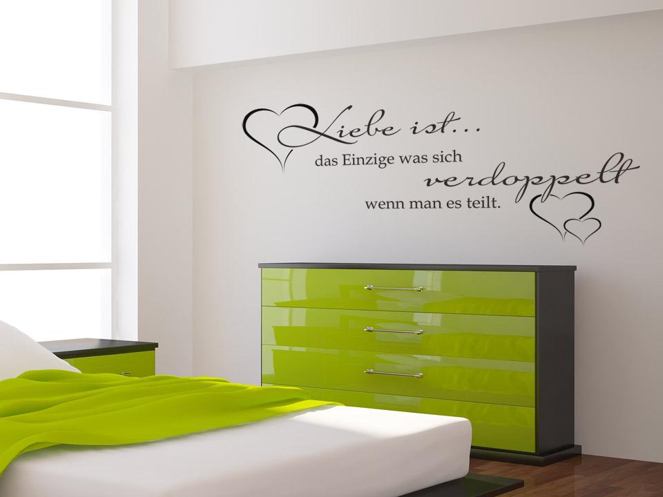 wandtattoo liebe ist das einzige was sich verdoppelt. Black Bedroom Furniture Sets. Home Design Ideas
