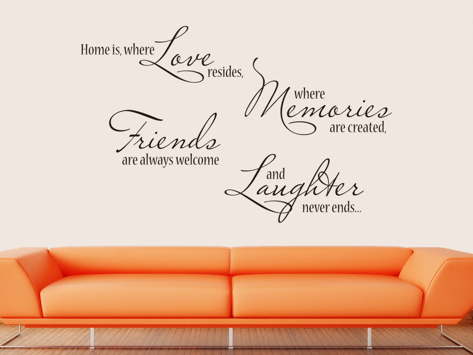 Wandtattoo home is where love resides where memories are created - Wandtattoo spruche ...