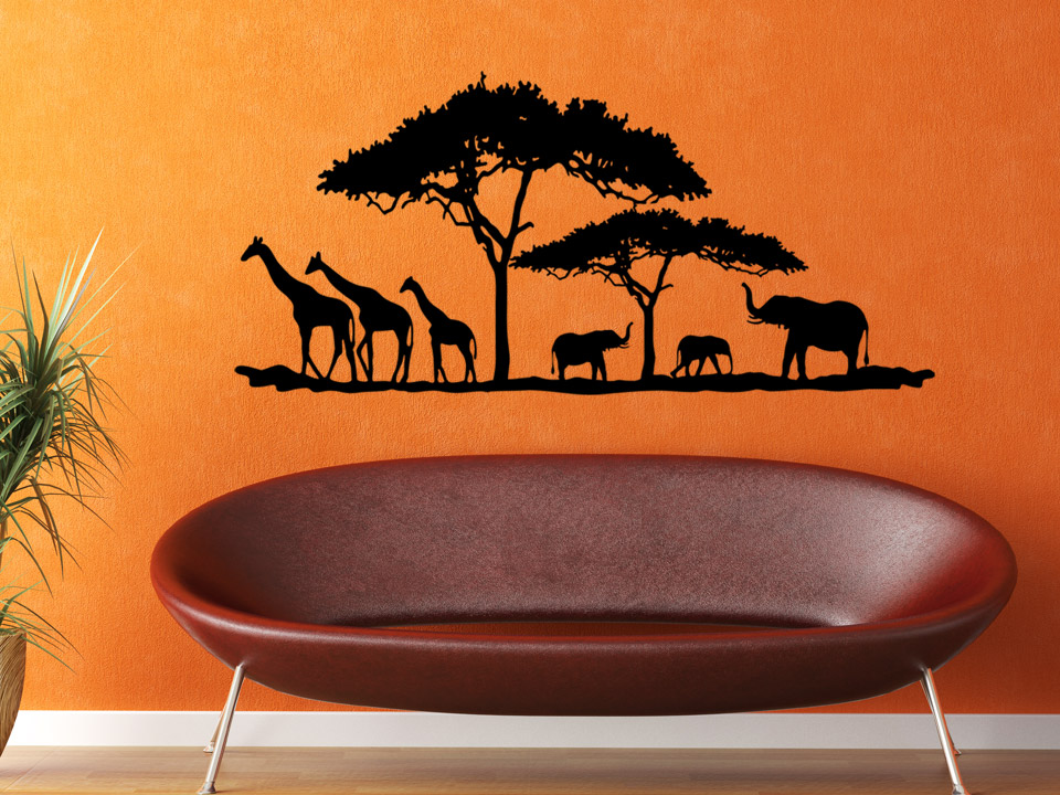 wandtattoo afrikanische tiere in der savanne mit giraffe elefant. Black Bedroom Furniture Sets. Home Design Ideas