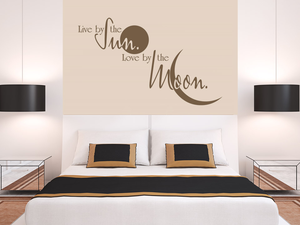 Wandtattoo live by the sun love by the moon for Wandtattoo schlafzimmer