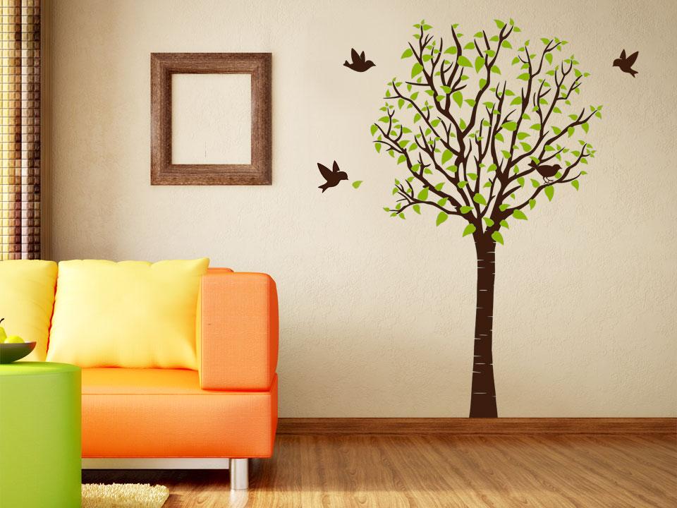 Stilvoller wandtattoo baum for Wandgestaltung wohnzimmer ideen
