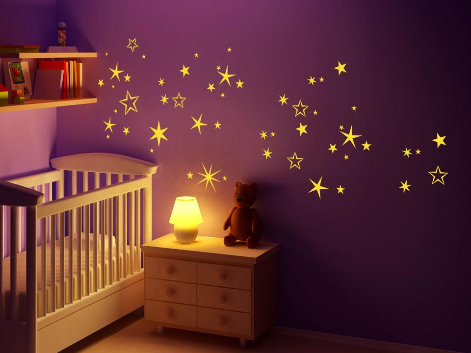 Wandtattoo sternennacht sterne f rs babyzimmer for Wandtattoo babyzimmer spruche