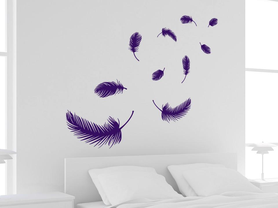 wandtattoo schwebende federn f rs schlafzimmer. Black Bedroom Furniture Sets. Home Design Ideas