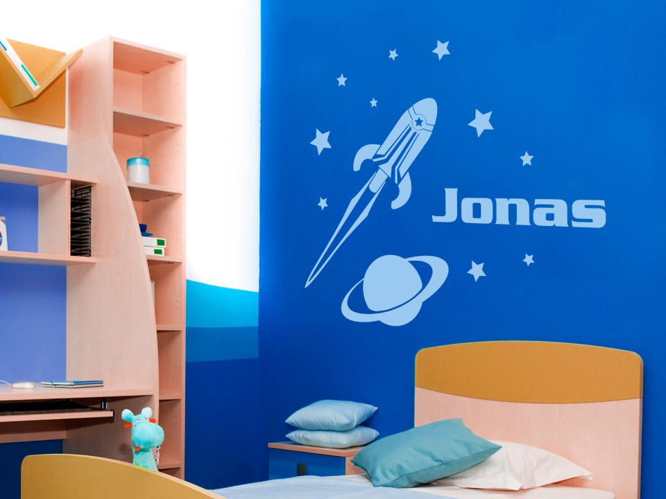 Wandtattoo weltraum rakete mit wunschname for Weltraum deko kinderzimmer