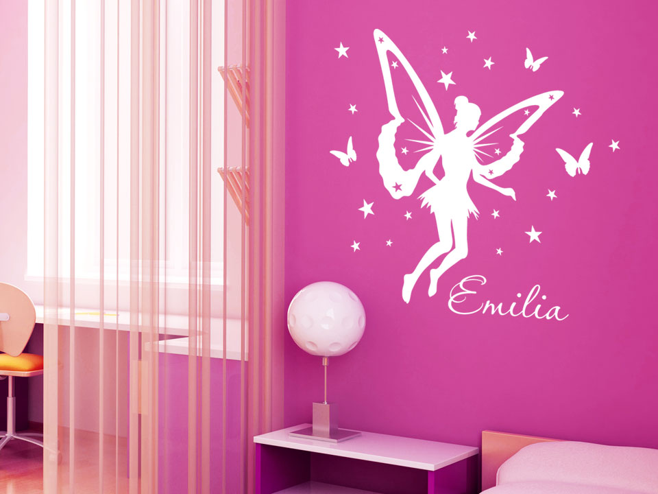 Wandtattoo fee mit namenswunsch f rs kinderzimmer for Kinderzimmer emily