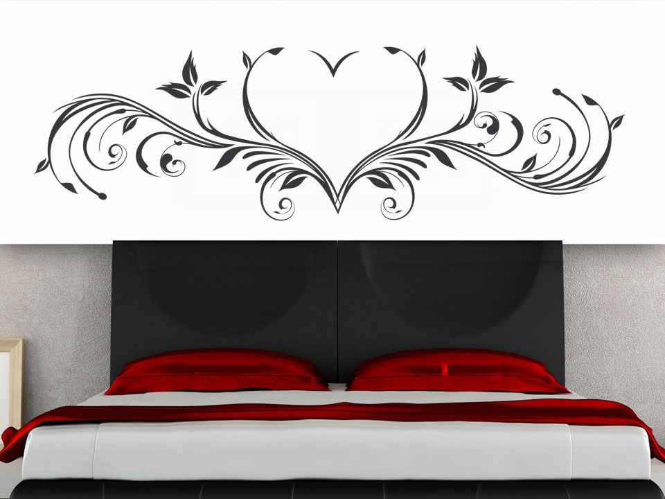 wandtattoo ornament herz f rs schlafzimmer. Black Bedroom Furniture Sets. Home Design Ideas