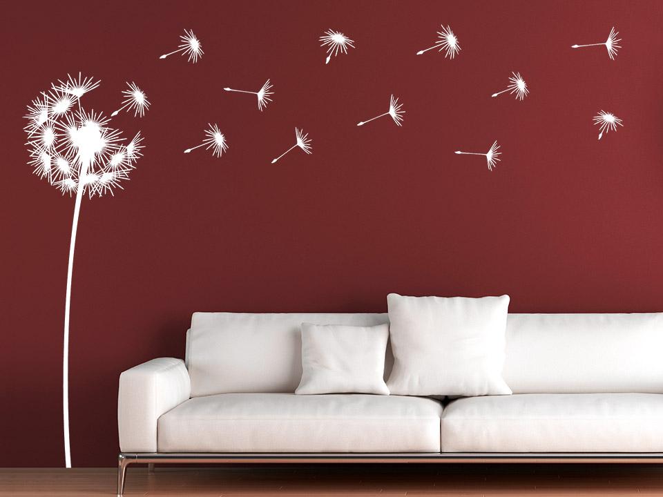 Wandsticker Pusteblume In Weiß Auf Dunkler Wandfläche. Wandsticker  Pusteblume In Weiß Auf Dunkler.