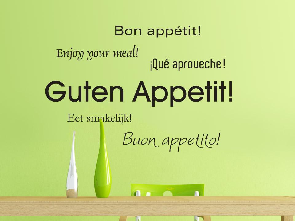 Wandtattoo Guten Appetit in 6 Sprachen Wandtattoo ...