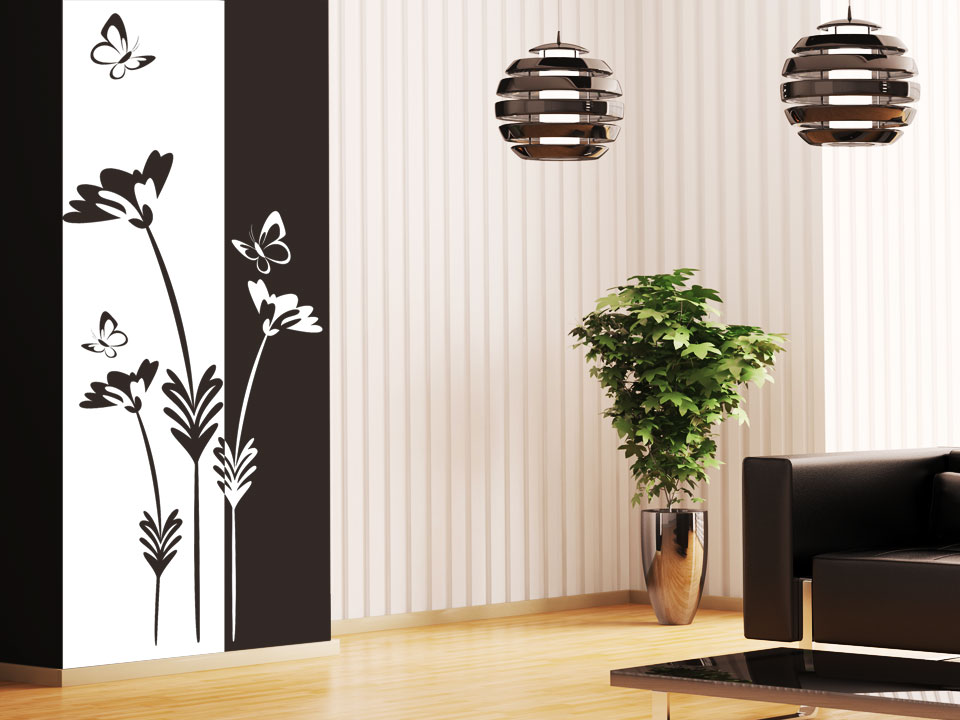 wandbanner blumen mit schmetterlingen. Black Bedroom Furniture Sets. Home Design Ideas