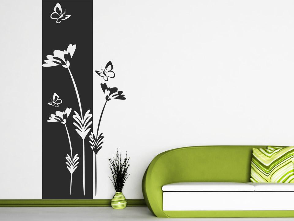 wandbanner blumen mit schmetterlingen. Black Bedroom Furniture Sets. Home Design Ideas