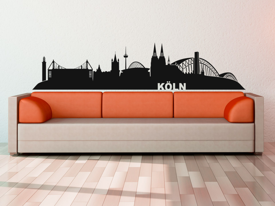 wandtattoo k ln skyline mit dom und weiteren wahrzeichen. Black Bedroom Furniture Sets. Home Design Ideas