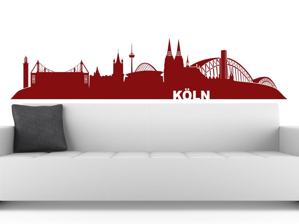 wandtattoo k ln skyline mit dom und weiteren wahrzeichen. Black Bedroom Furniture Sets. Home Design Ideas
