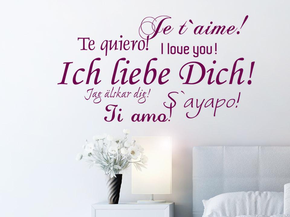 Wandtattoo Ich Liebe Dich In Verschiedenen Sprachen Wandtattoo Com