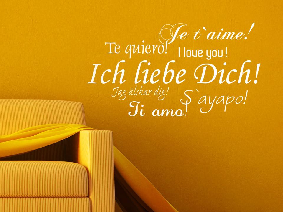 wandtattoo ich liebe dich in verschiedenen sprachen. Black Bedroom Furniture Sets. Home Design Ideas