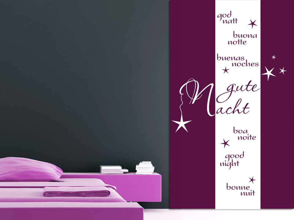 wandbanner gute nacht f rs schlafzimmer. Black Bedroom Furniture Sets. Home Design Ideas