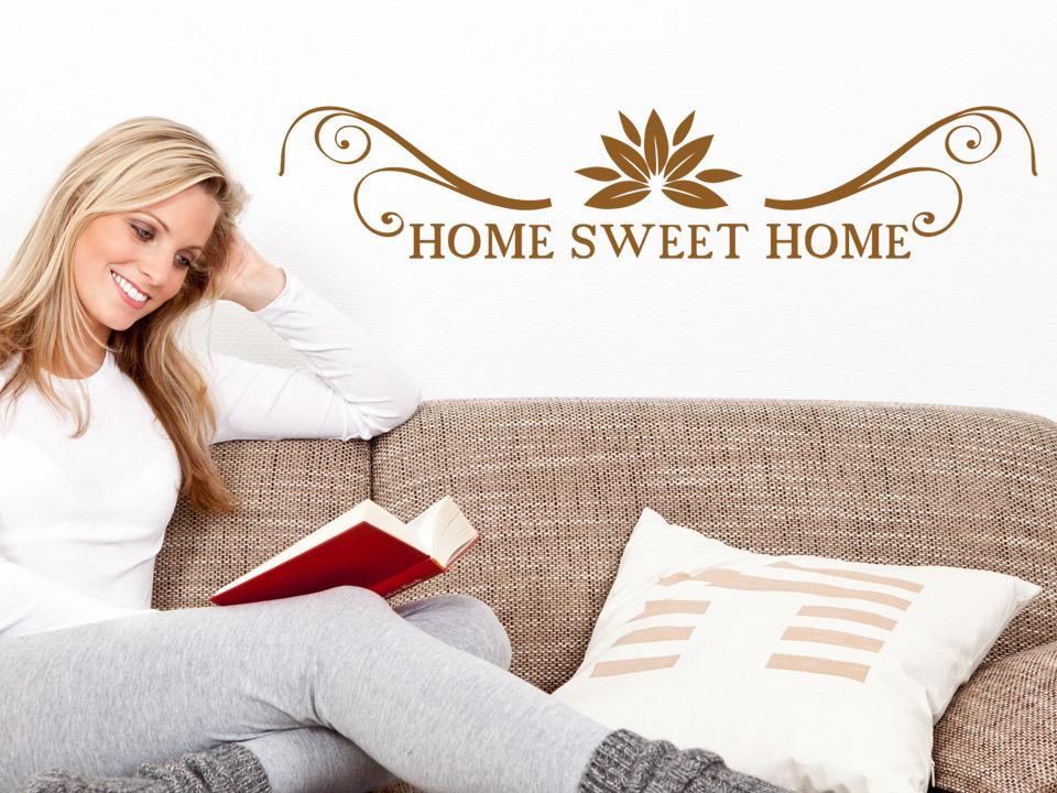 Wandtattoo home sweet home mit ornamnet und schn rkel for Home sweet home sofa